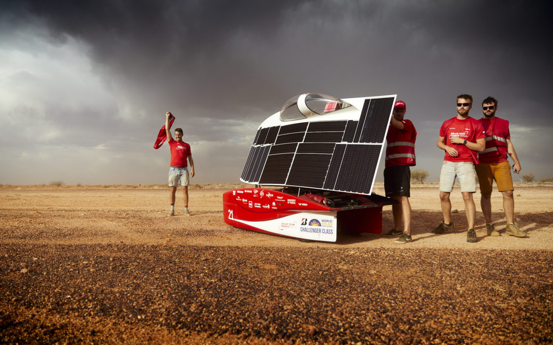 Twente solar car retains leading position in windy stage, close battle with Delft